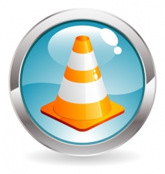 gloss button with traffic cone vector image