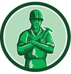 Green Builder Holding Hammer Circle Retro vector