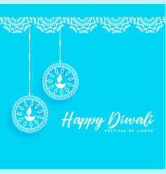 Happy diwali background with celebration lamps vector
