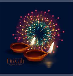Happy diwali celebration firework with diya lamp vector