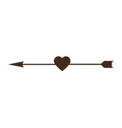 Heart love with arrow decorative frame vector