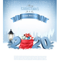 holiday christmas background with a red sack full vector image