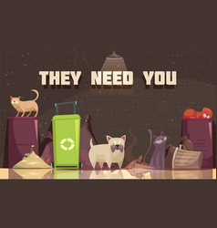 homeless animals flat poster vector image