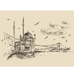 Istanbul Turkey City Bosphorus Vintage Engraved vector