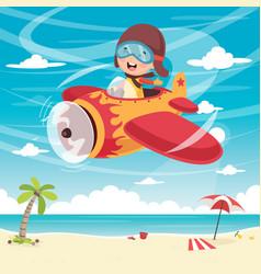 kid flying plane vector image