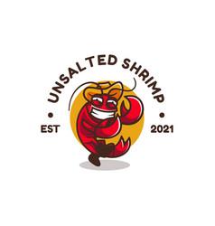 logo shrimp simple mascot style vector image