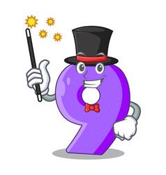 Magician paper cut number nine letter mascot vector