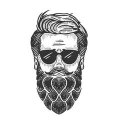 Man with hop beard sketch vector