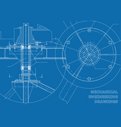 Mechanical engineering drawings blue and white vector