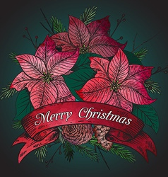 Merry Christmas greeting card with hand drawn vector image