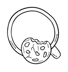 Milk with cookie isolated doodle sketch breakfast vector