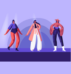 Model girls in fashioned haute couture clothing vector