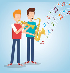 music festival live with men playing saxophone and vector image