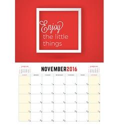November 2016 Wall Calendar Planner for 2016 Year vector