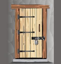 Padlocked cottage door vector