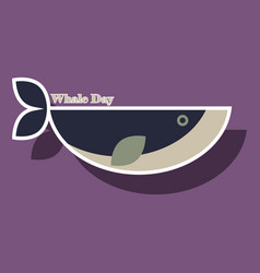 Paper sticker on theme save whales whale day vector