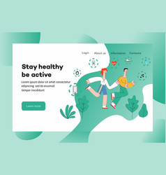 People in sportswear running outdoors among trees vector