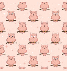 pink seamless background with owls vector image