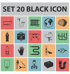 Plumbing fitting black icons in set collection vector
