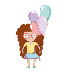 Pretty girl with balloons and glasses vector