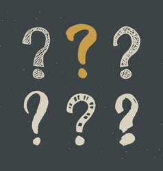 Questions marks doodle set hand drawn grunge signs vector