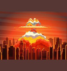 Rising radioactive bright mushroom cloud on city vector