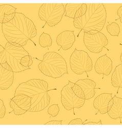 Seamless pattern of autumn leaves on the beige bac vector image