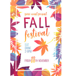seasonal fall festival poster vector image