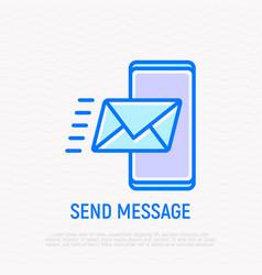 send message envelope flying on smartphone vector image