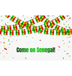 senegal garland flag with confetti on transparent vector image