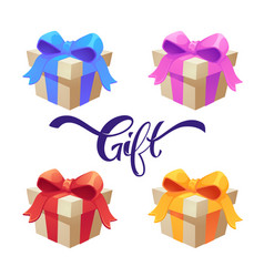 set cartoon realistic shiny gift boxes vector image