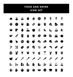 set food and drink icon with glyph style design vector image