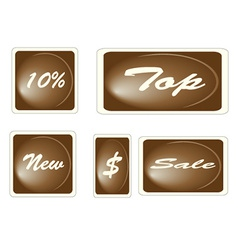 Set of brown square labels vector
