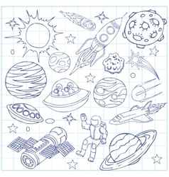 Sheet of exercise book with outer space doodles vector