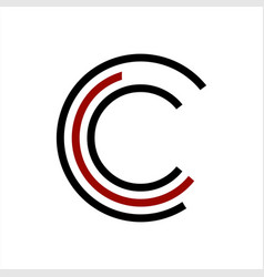 simple initials c cc ccc geometric network line vector image