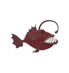 small piranha with big sharp teeth sea creature vector image