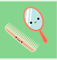 Smiling cute comb and mirror habituate kid card vector