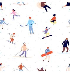 sport pattern winter activity snowboard ski vector image
