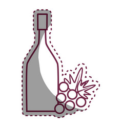 Sticker wine bottle with grape fruit vector