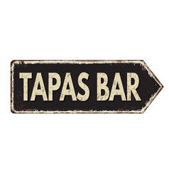 tapas bar vintage rusty metal sign vector image