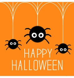 Three cute hanging fluffy spiders Happy Halloween vector
