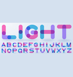 transparent blue and pink alphabet vector image