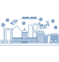 usa idaho boise winter city skyline merry vector image