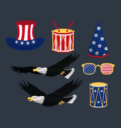 usa independence day icons vector image