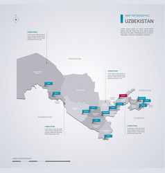 Uzbekistan map with infographic elements pointer vector