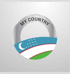 uzbekistan my country flag badge vector image