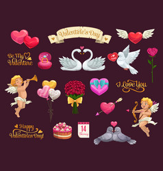 Valentines day love hearts gift ribbon and cupid vector