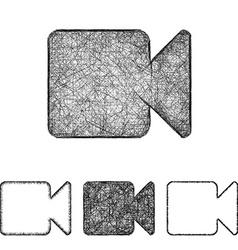 Video icon set - sketch line art vector