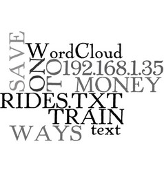 Ways to save money on train rides text word cloud vector