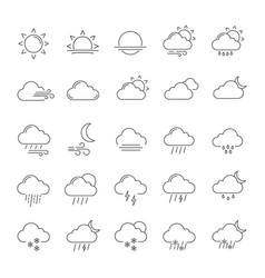 weather forecast linear icons set vector image